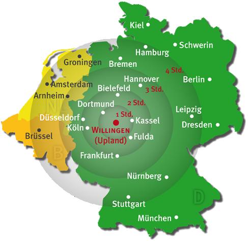 Karte Willingen Region